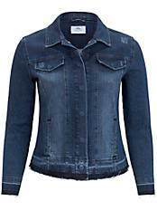 FRAPP - Jeansjacke mit modischen Fransenkanten