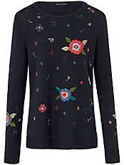 Inkadoro - Rundhals-Pullover mit aufgestickten Blüten