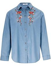 Peter Hahn - Bluse mit Hemdkragen und Stickerei