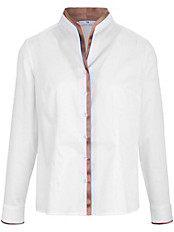Peter Hahn - Bluse mit Kelchkragen und moderner kontrast Blende