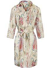Peter Hahn - Kleid mit kurzer Knopfleiste und Bindegürtel.