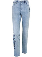 Peter Hahn - Knöchellange Jeans mit Blumen-Stickereien